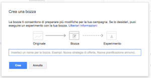 bozza campagna adwords