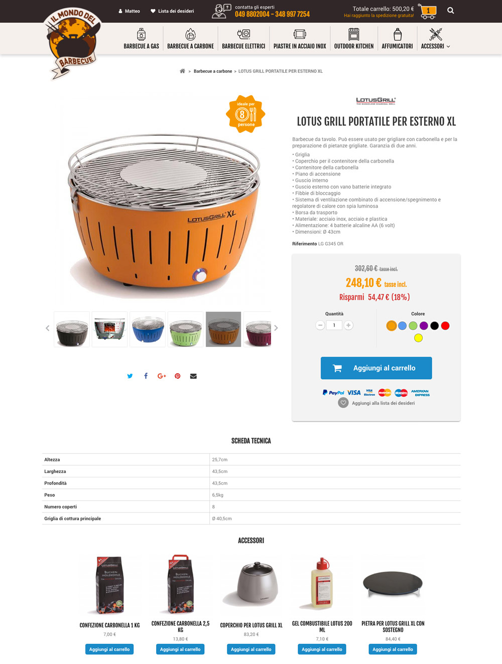 sito di vendita on-line barbecue
