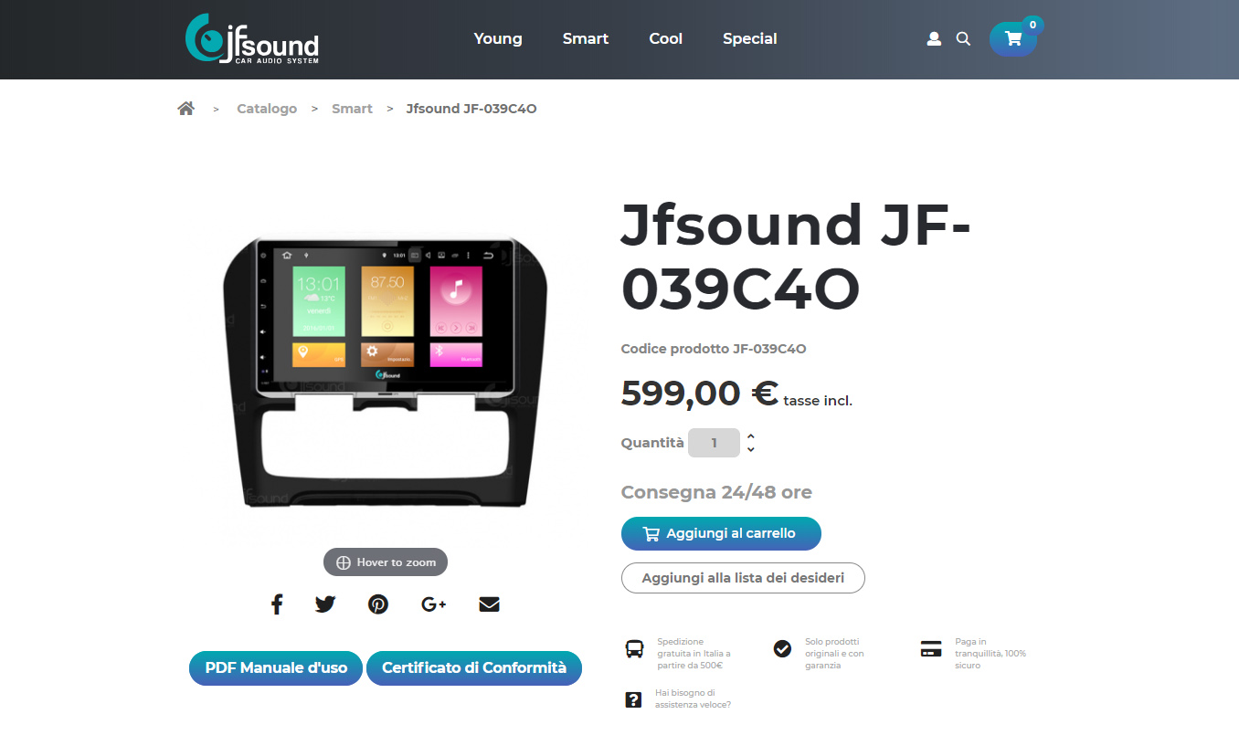 creazione e-commerce JF Sound